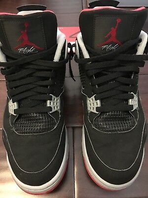 a6a540d4971d9a 1999 Nike Air Jordan 4 IV OG RETRO 136013 001 SIZE 10.5 BRED BOX CARD