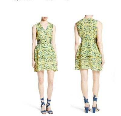 411e1d1b86d TANYA TAYLOR SABRINA LEAF PRINT SILK DRESS YELLOW MIDNIGHT SIZE 4 or 6 NWT   495