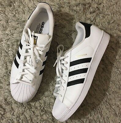 wholesale dealer c9446 407a5 Adidas Superstar Mens White Black Leather Shell Toe Sneaker Shoes Size 13  tp