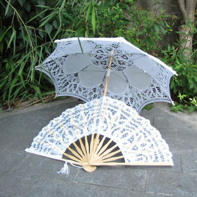 Beautiful White Lace Parasol Umbrella & Hand Fan For Bridal Wedding Decor