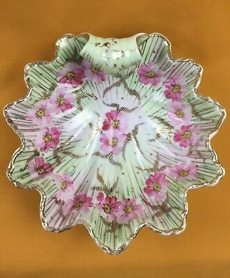 Antique Unmarked Nippon Candy or Nut Dish Hand Painted Pink Green Gold