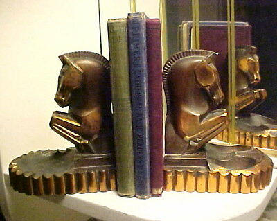Pair (2) Art Deco Geometric Horse Ashtray Pipe Holder Metal Bookends 1930's