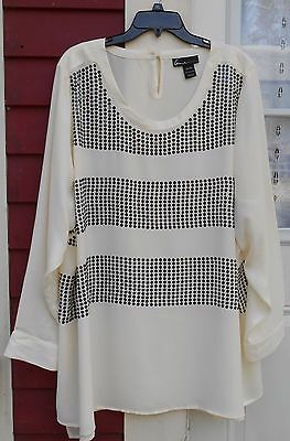 8030419f759 LANE BRYANT IVORY Sequined Long Sleeved Dressy Blouse Size 26 28 (58 ...