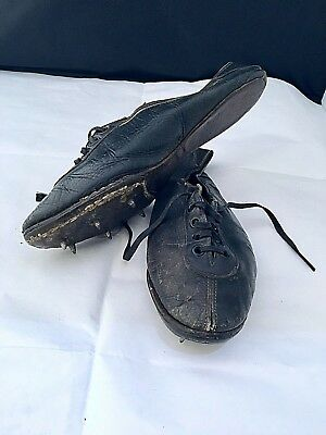 """ANTIQUE Vintage pair of LEATHER RUNNING SHOES SPIKES athletics sport, 9.5"""" long"""
