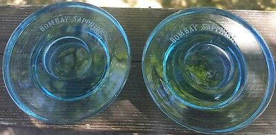 2  Bombay Sapphire Blue Glass Tealight Candle Holders