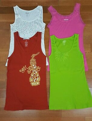 Old Navy Womens Lot 4 Pink Green White Beaded Rust Ribbed Tank Tops Sz L XL Tiny
