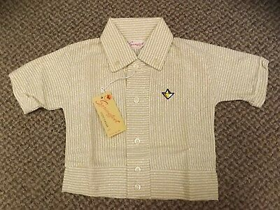 Rockabilly Vtg 1950s 100% Cotton Knit Brown Striped Banded Waist Shirt Boys Sz 6