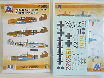 Bf-109 F-2 & F-4 over Afrika and MTO, Avalon, 1:48, Decal, NEU