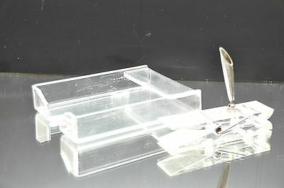 Vintage Lucite Acrylic Clear Desk Accessories Note Paper Holder and Pen Holder