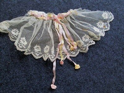 Antique French Net LaceTrim/Flounce Silk Roses & Ribbons Antique Doll Clothing