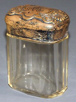 Antique Cut Glass Dresser Jar with Silver Plate Lid