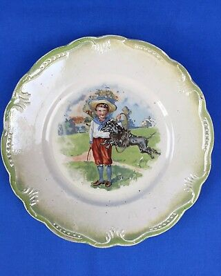 Small Antique Plate Boy with Poodle C. Krejsa Furniture Advertising Cleveland OH