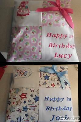 PERSONALISED EMBROIDERED 1st BIRTHDAY CUSHION FOR BOY OR GIRL
