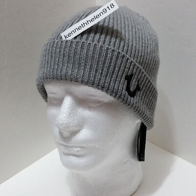 8ebcca54d True Religion Mens Ribbed Knit Watchcap Beanie Hat Minimal Grey One Size