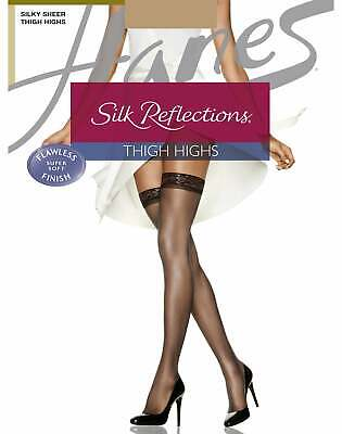 61c1f65a5f2a9 Thigh High Stockings 3-Pack Women's Hanes Silky Sheer Reflections Sandalfoot