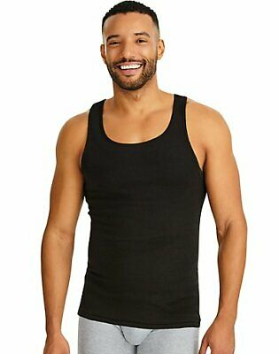 Hanes Men Tank Dyed A-Shirt 4Pack TAGLESS ComfortSoft Classics Cotton Black Grey