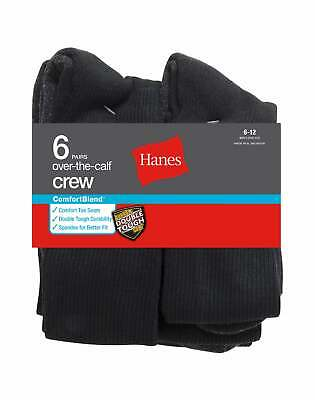 Hanes Over-the-Calf Crew Socks 6 Pack ComfortBlend White or Black Dress Bulk