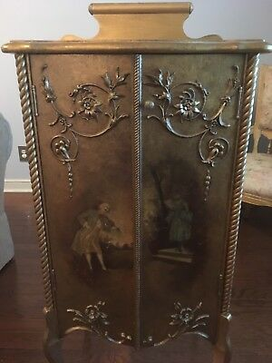 French Louis XVI Style Painted 19 Century Sheet Music Cabinet Gold Painted