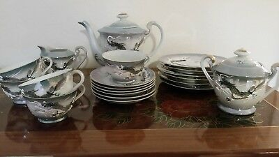 20-pc Vintage Dragonware Teaset with handpainted dragons and geisha lithopanes
