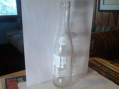 Vintage 1966 Popp Soda Pop Bottle 10 oz ACL Advertising Franklin Pennsylvania
