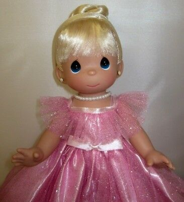"""Precious Moments 13"""" Doll  """"Prettiest one of All"""" Blonde Girl Pink Dress NEW"""