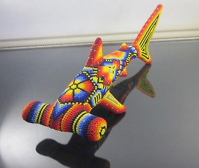"HUICHOL Art Beaded Hammerhead Shark Mexican Handmade Folk Art 10.1""L"