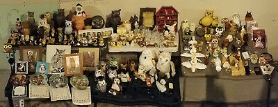 Owl collection: Over 250 items ceramic, porcelain, & crystal owl figurines