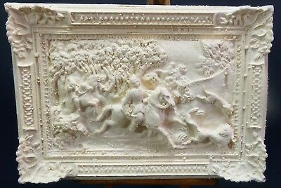 Miniature Dollhouse Relief Art Style Hunting or Horse Riding Scene