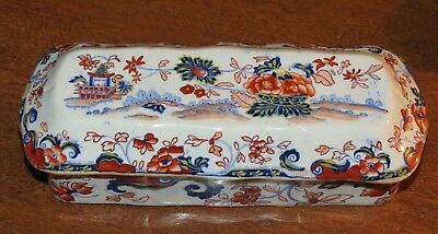 "Antique Minton early STONE CHINA 3 section trinket box– ""AMHERST JAPAN"" Pattern"