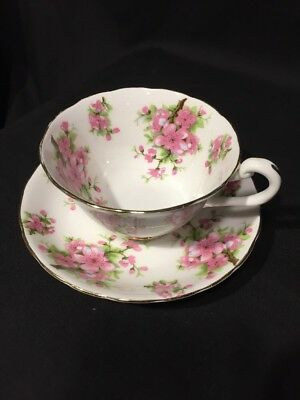 NEW CHELSEA STAFFS Teacup Cup & Saucer - Pink Roses flowers gold rim ENGLAND