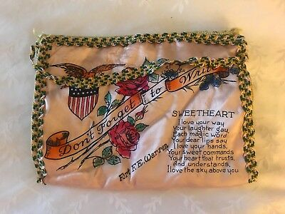 """WW2 Era Sweetheart """"Forget Me Nots"""" Holder/pouch For Love Letters"""