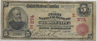1902 Large Size National $5 Jersey City New Jersey #374 E (Red Seal)