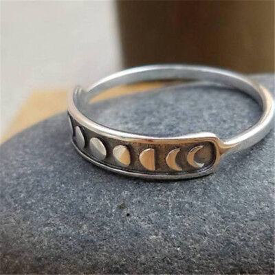 Vintage Ancient Silver Moon Phase Finger Ring Moon Band Ring Jewelry Sz 7/8/9/10