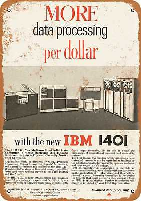 """7"""" x 10"""" Metal Sign - 1961 IBM 1401 Room Sized Computer - Vintage Look Reproduct"""