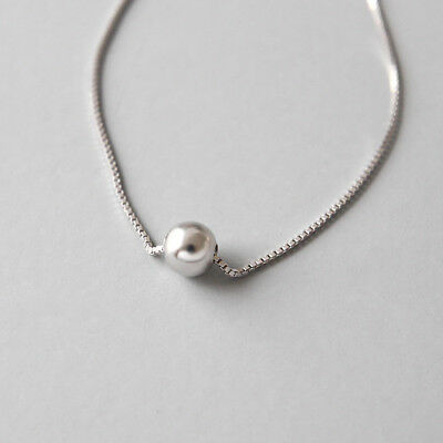 Women Fashion Genuine S925 Sterling Silver Bead Ball Chokers Necklace Chains