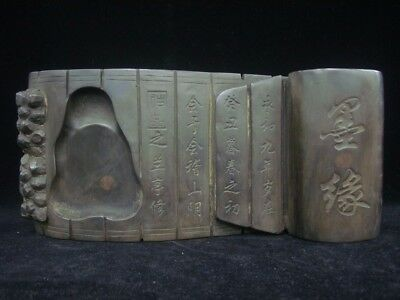 Ancient Old Chinese Ink Stone Hand Carving Bamboo Book Ink Slab Mark