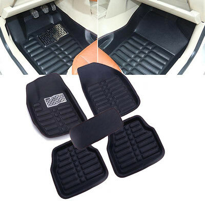 5pcs Leather Car Floor Mats Front & Rear Liner All Weather Waterproof Mat Black