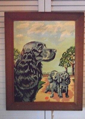 vintage paint by number painting completed dog puppies black gray cocker spaniel