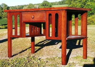 Antique Mission Oak Library Table Arts And Crafts Style Double Sided Desk