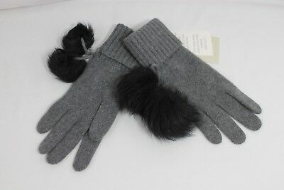 Ugg Ribbed Cashmere Gray Gloves With Toscana  Poms Black Knit Womens One Size