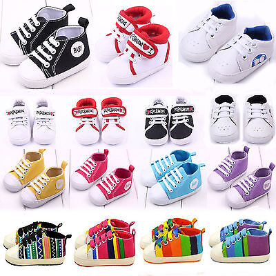 Baby Boys Girls Soft Sole Crib Shoes Sneaker Newborn Infant Prewalker Trainers