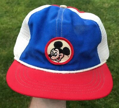 7af94279 Vintage Walt Disney Mickey Mouse 3 Color Trucker Mesh Snapback Hat Cap USA  Made