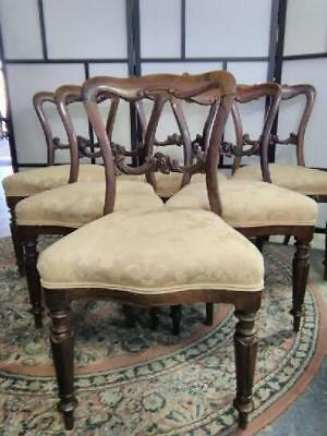 Set Of 6 Victorian Carved Rosewood Dining Chairs On Turned Legs