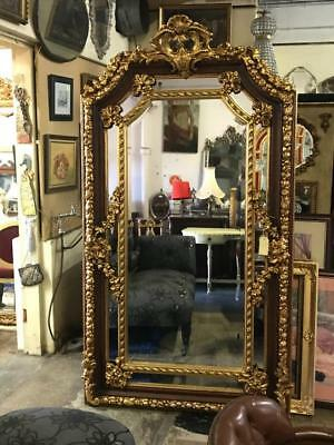 MAGNIFICENT EXTRA LARGE FRENCH LOUIS ORNATE GOLD FLOOR BEVELLED MIRROR. 203cm