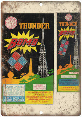 """Thunder Bomb Firecrackers Package Art 10"""" X 7"""" Reproduction Metal Sign ZD49"""