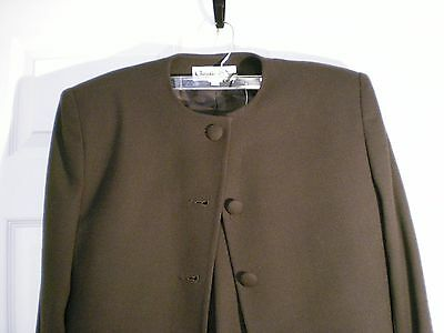 3 Piece Christian Dior CHOCOLATE BROWN SUIT-100% Wool-Jacket/Skirt/Pants-Size 12