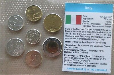 Italy....7 Uncirculated Coins......in Plastic Cover