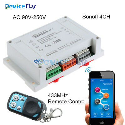 Sonoff 4CH WIFI Remote Switch Home Automation Din Rail Mounting 433Mhz Control