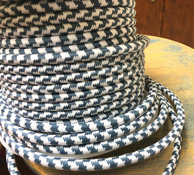 Slate Blue and White Cloth Covered 3-Wire Round Cord, Houndstooth Cotton Pattern