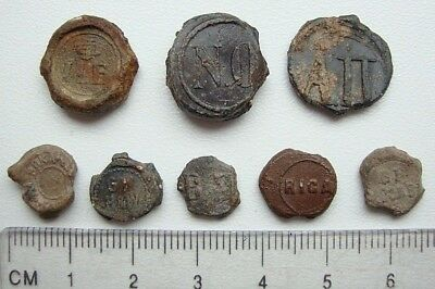 Lot of 8 Different Old Lead Seals M